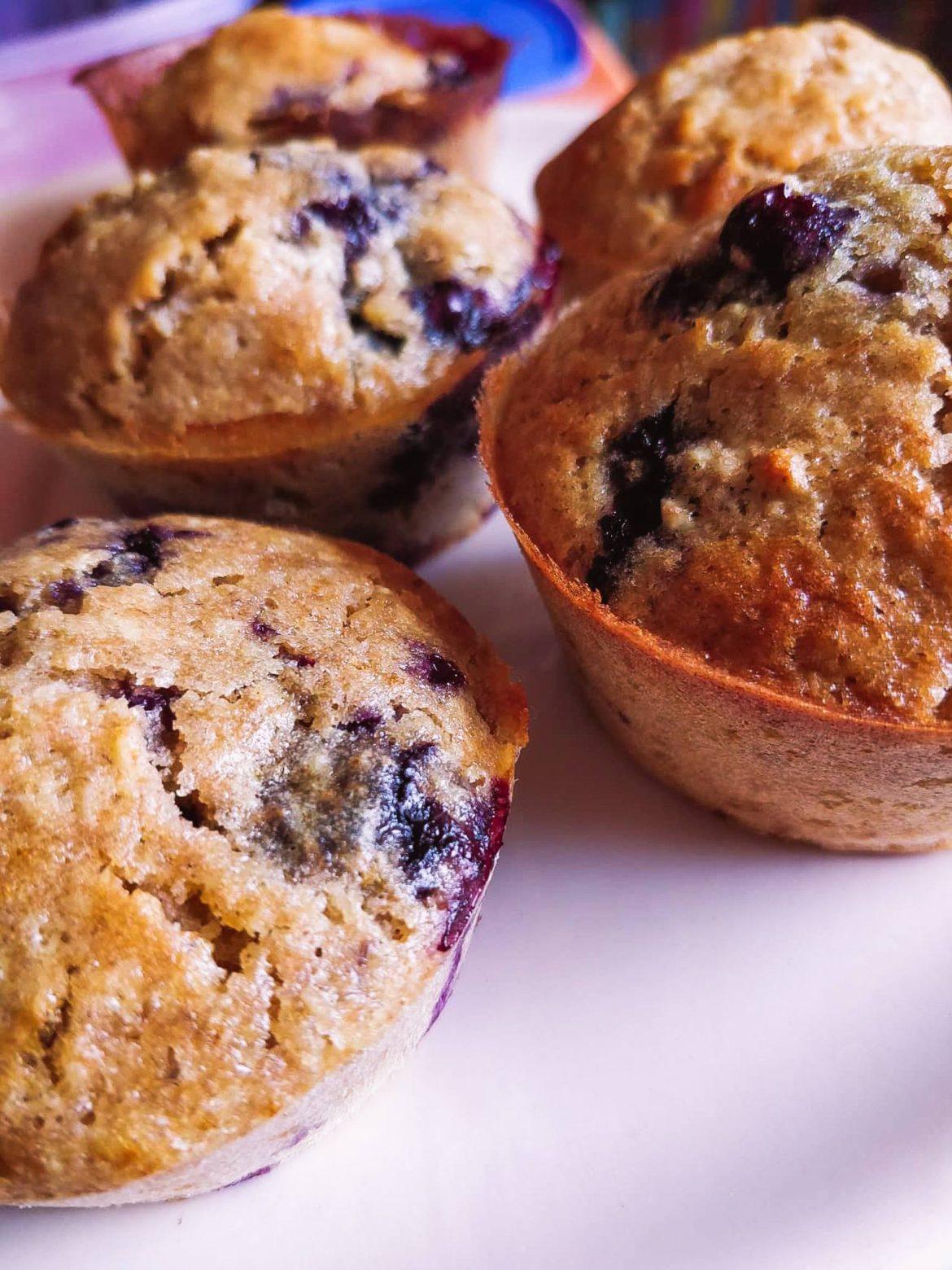 Muffins de aveia e mirtilos